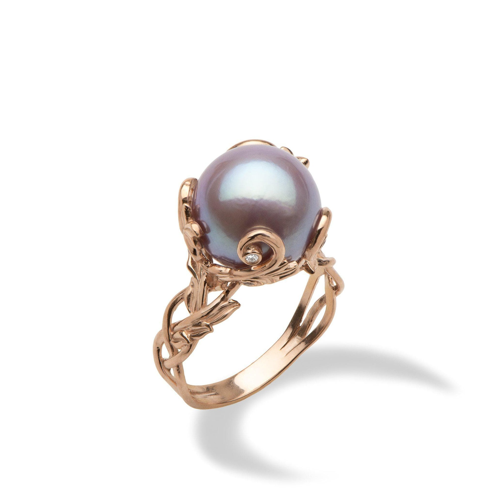 Lilac Freshwater Pearl Ring with Diamonds in 14K Rose Gold (11-12mm)-[SKU]
