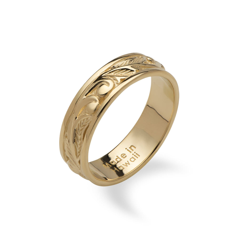 Hawaiian Heirloom Old English Scroll Ring in 14K Yellow Gold