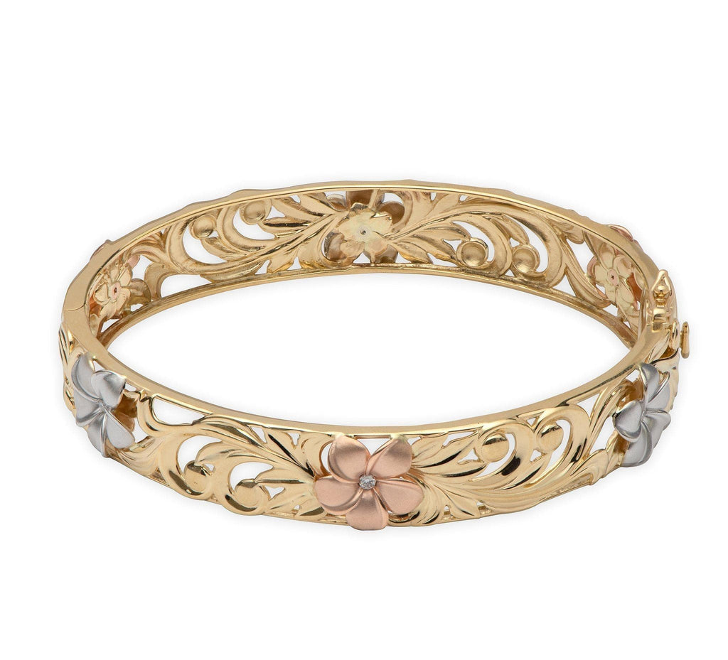 Hawaiian Heirloom Plumeria Scroll Bracelet with Diamonds in 14K Yellow Gold