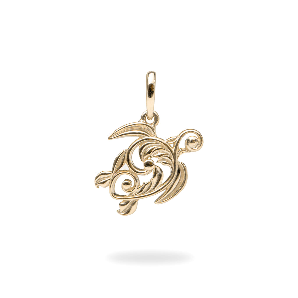 Living Heirloom Honu Pendant in Gold - 16mm-[SKU]