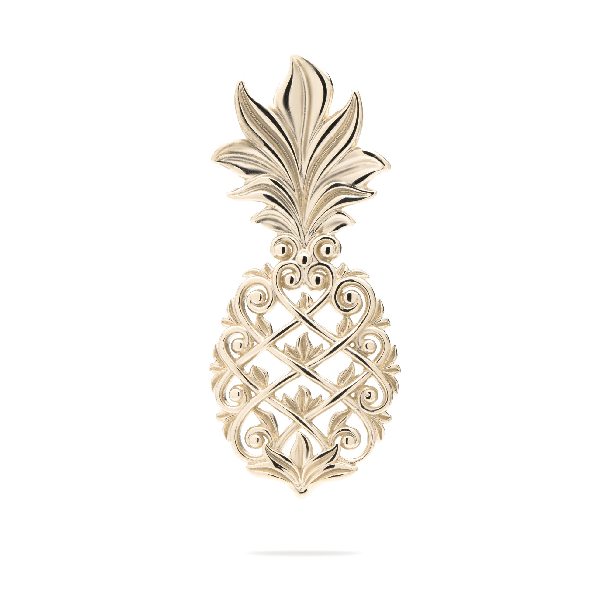 Living Heirloom Pineapple Pendant in 14K Yellow Gold-30mm - Maui Divers Jewelry
