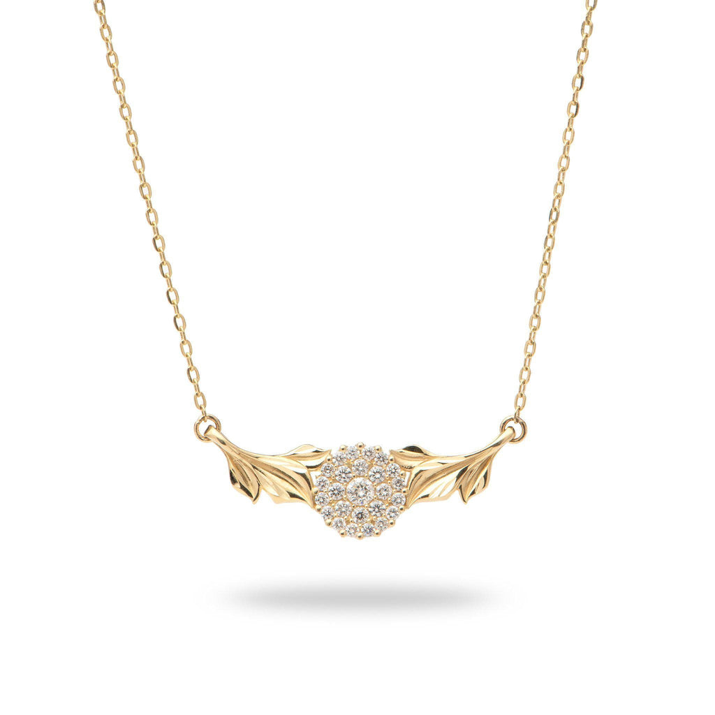 Maile Moon Necklace in 14K Yellow Gold with Diamonds