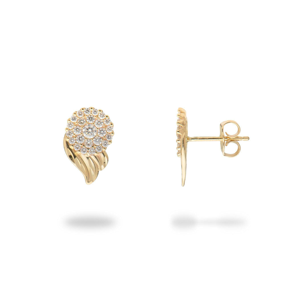 Gold maile diamond earrings