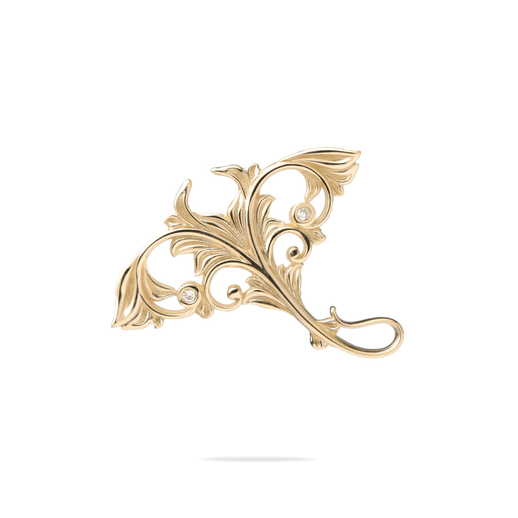 Living Heirloom Manta Ray Pendant in Gold with Diamonds - 23mm-[SKU]