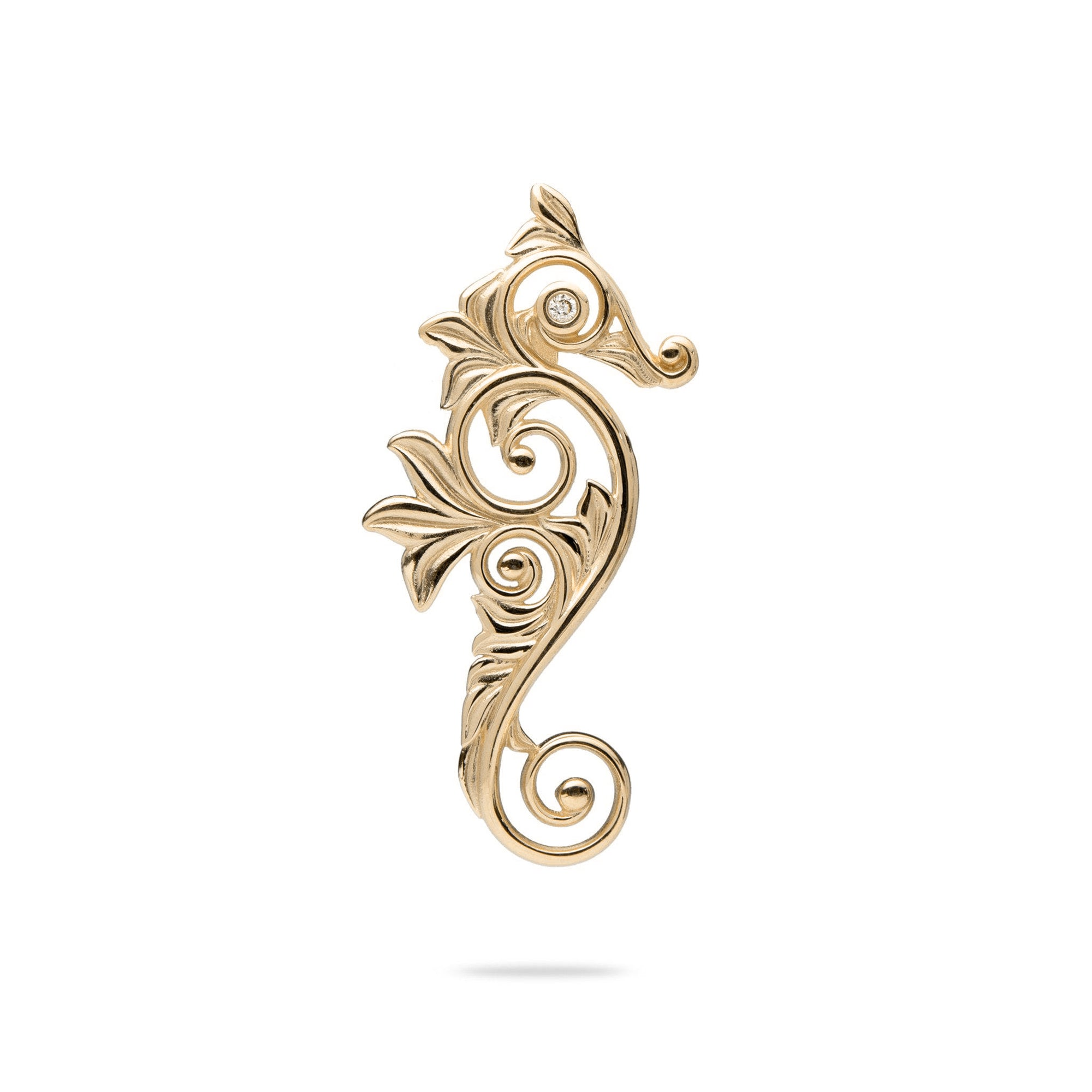 Living Heirloom Seahorse Pendant in Gold with Diamonds - 25mm-[SKU]