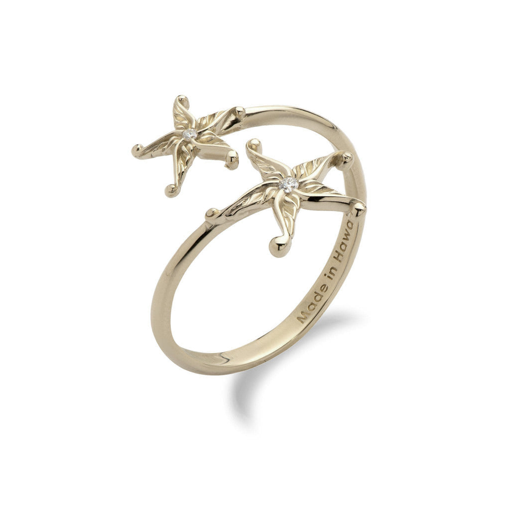 Living Heirloom Starfish Ring in Gold with Diamonds - 16mm-[SKU]