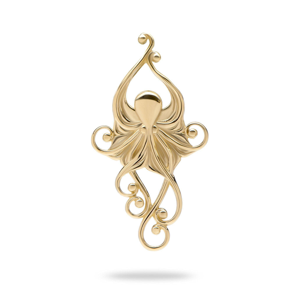 Living Heirloom Octopus Pendant in 14K Yellow Gold