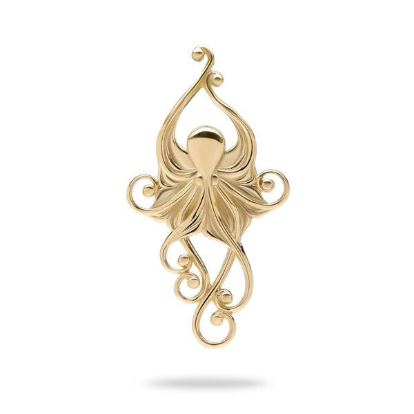 Living Heirloom Octopus Pendant in Gold - 36mm-Maui Divers Jewelry