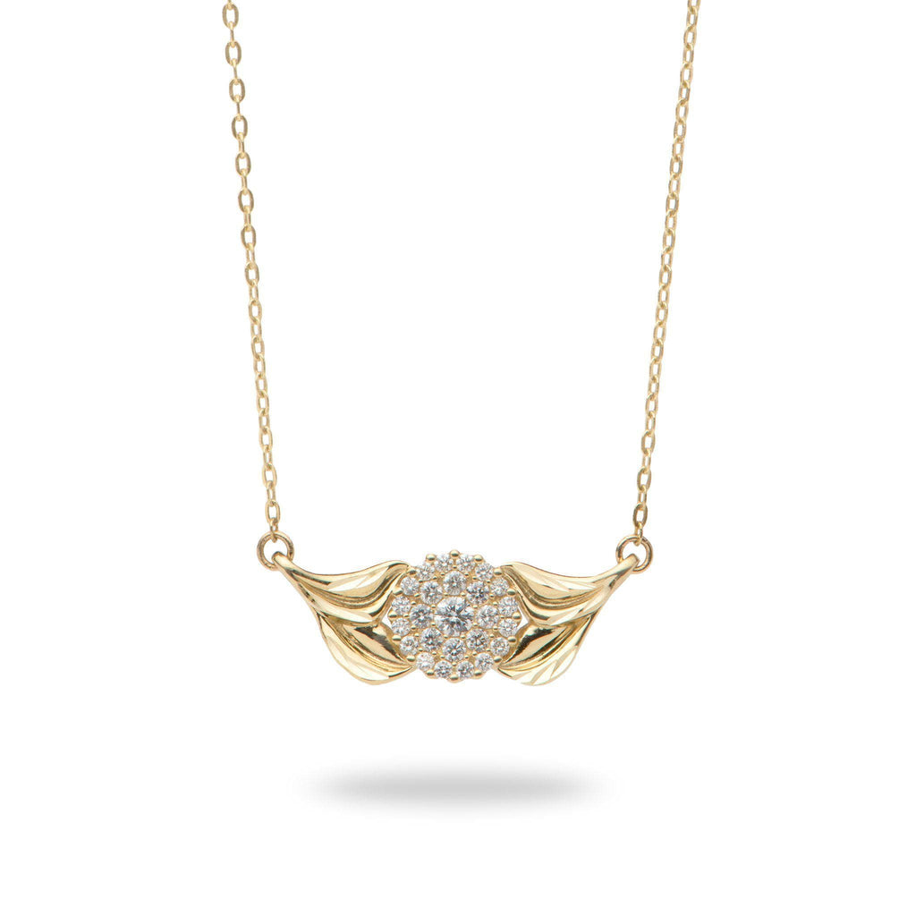 Gold maile necklace with diamonds