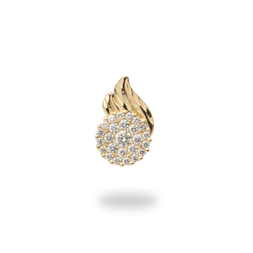 Maile Moon Pendant in 14K Yellow Gold with Diamonds