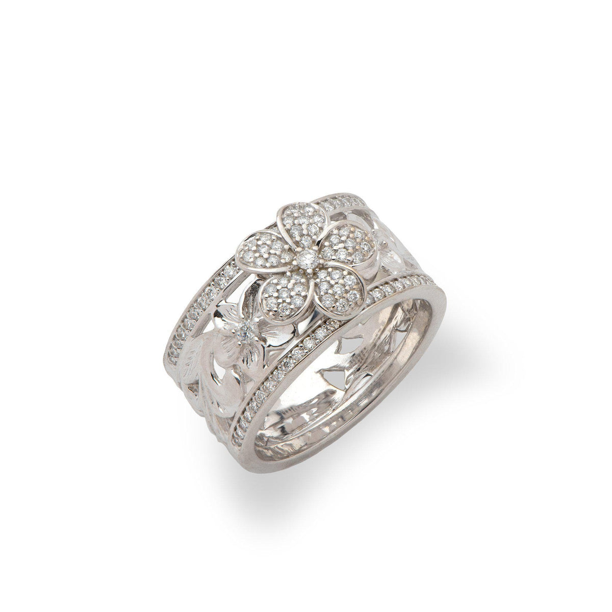 Hawaiian Heirloom Plumeria Pave Scroll (10mm) Ring in 14K White Gold with Diamonds