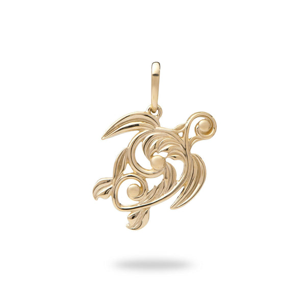Living Heirloom Honu Pendant in Gold - 22mm-Maui Divers Jewelry