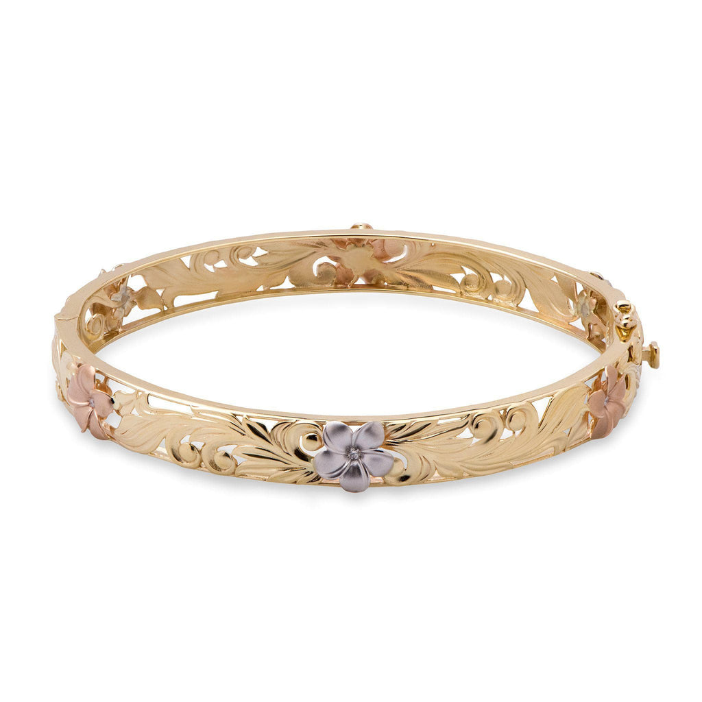 Hawaiian Heirloom Bracelet in Tri Color Gold with Diamonds- 8mm-[SKU]