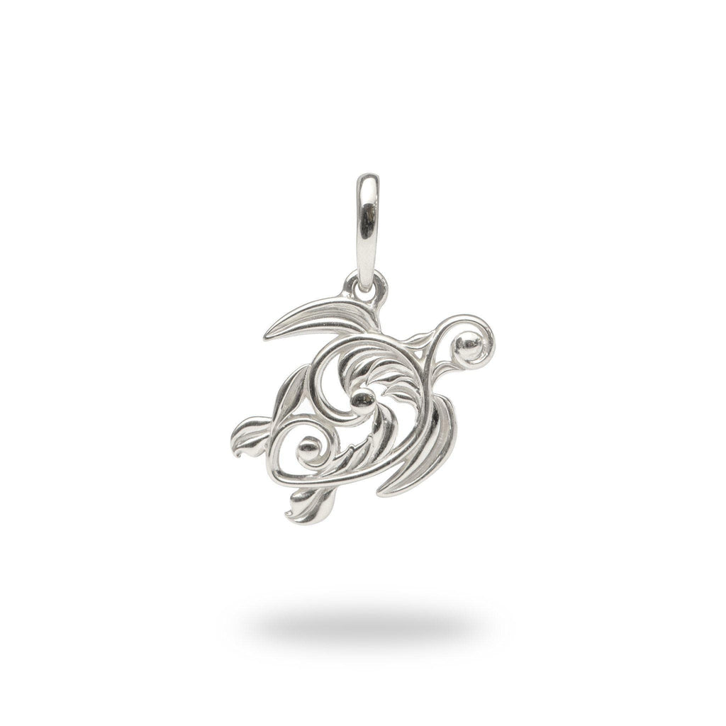 Living Heirloom Honu (Sea Turtle) Pendant in 14K White Gold - 16mm - Maui Divers Jewelry