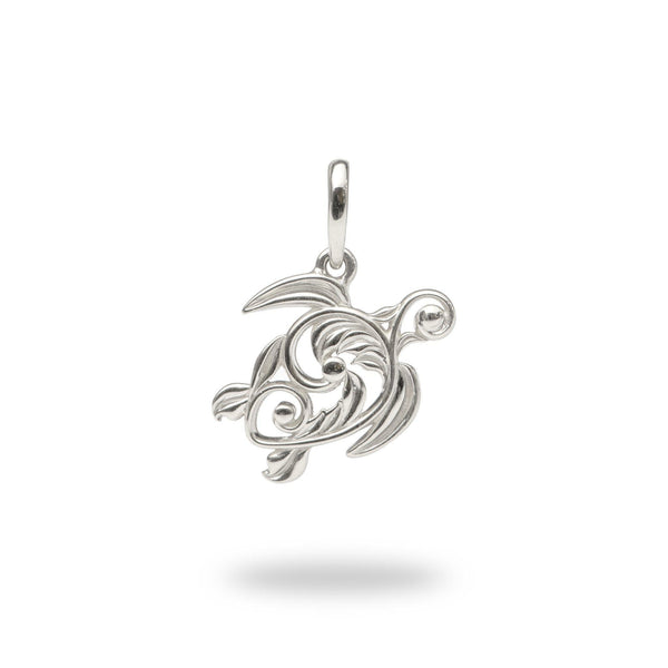 Living Heirloom Honu Pendant in White Gold - 16mm-Maui Divers Jewelry