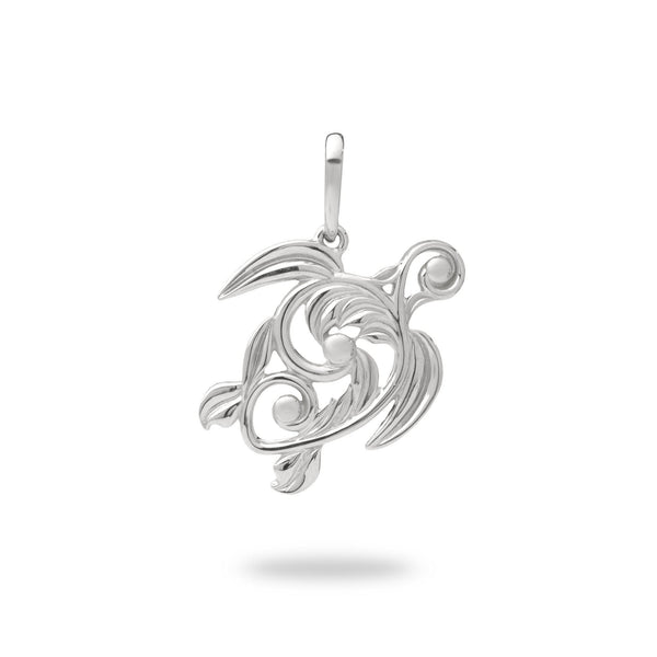 Living Heirloom Honu Pendant in White Gold - 22mm-Maui Divers Jewelry