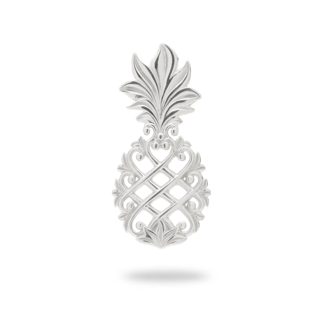 Living Heirloom Pineapple Pendant in 14K White Gold - 23mm - Maui Divers Jewelry