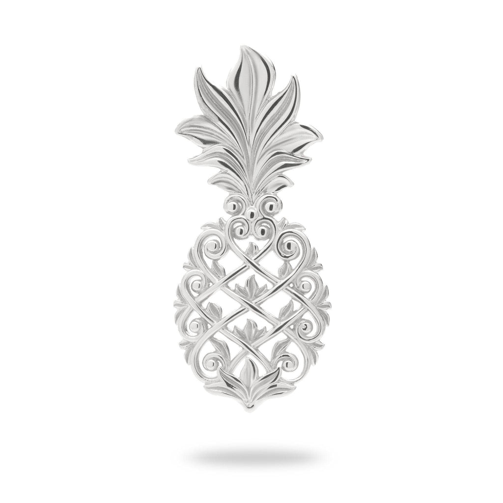 Living Heirloom Pineapple Pendant in 14K White Gold - 30mm - Maui Divers Jewelry