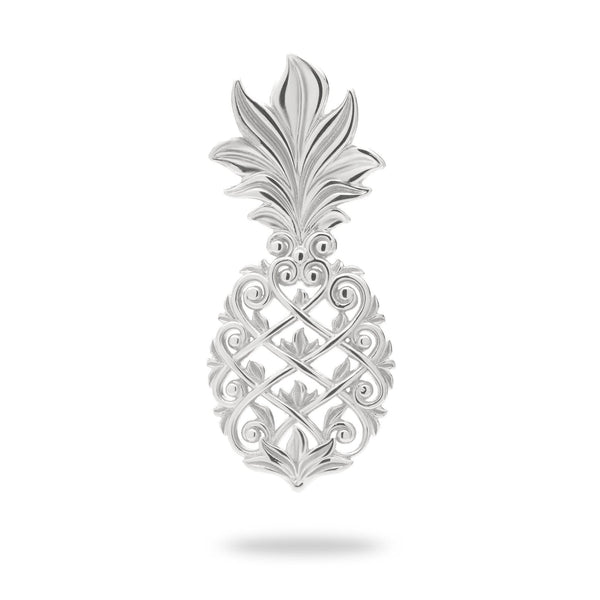 Living Heirloom Pineapple Pendant in White Gold - 30mm-Maui Divers Jewelry