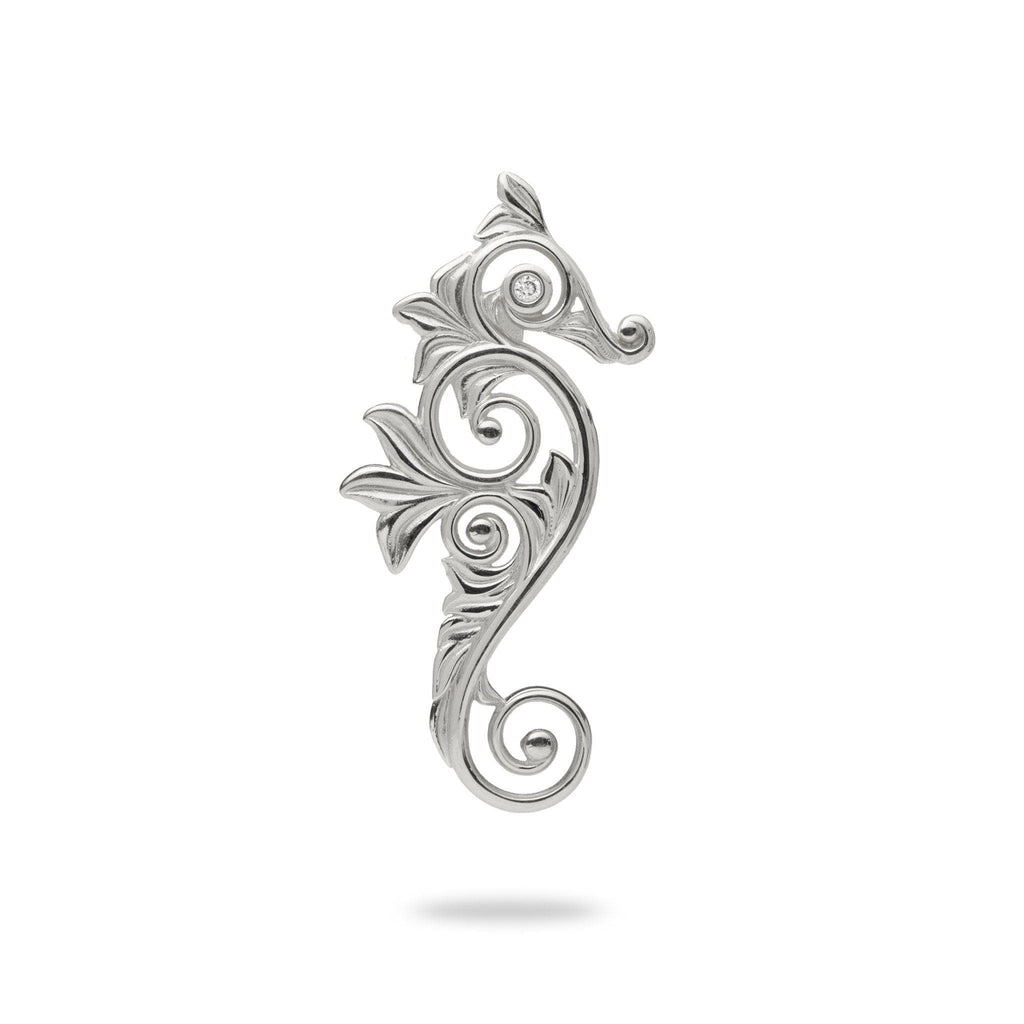 Living Heirloom Seahorse Pendant in 14K White Gold with Diamonds - 25mm - Maui Divers Jewelry
