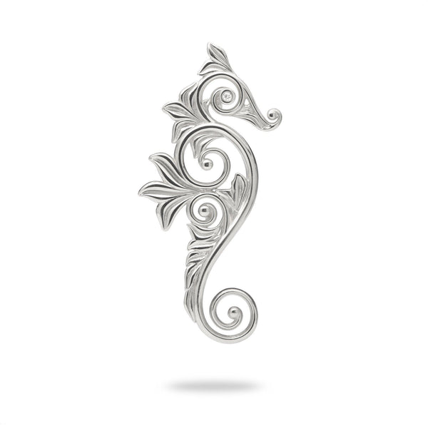 Living Heirloom Seahorse Pendant in White Gold with Diamonds - 35mm-Maui Divers Jewelry