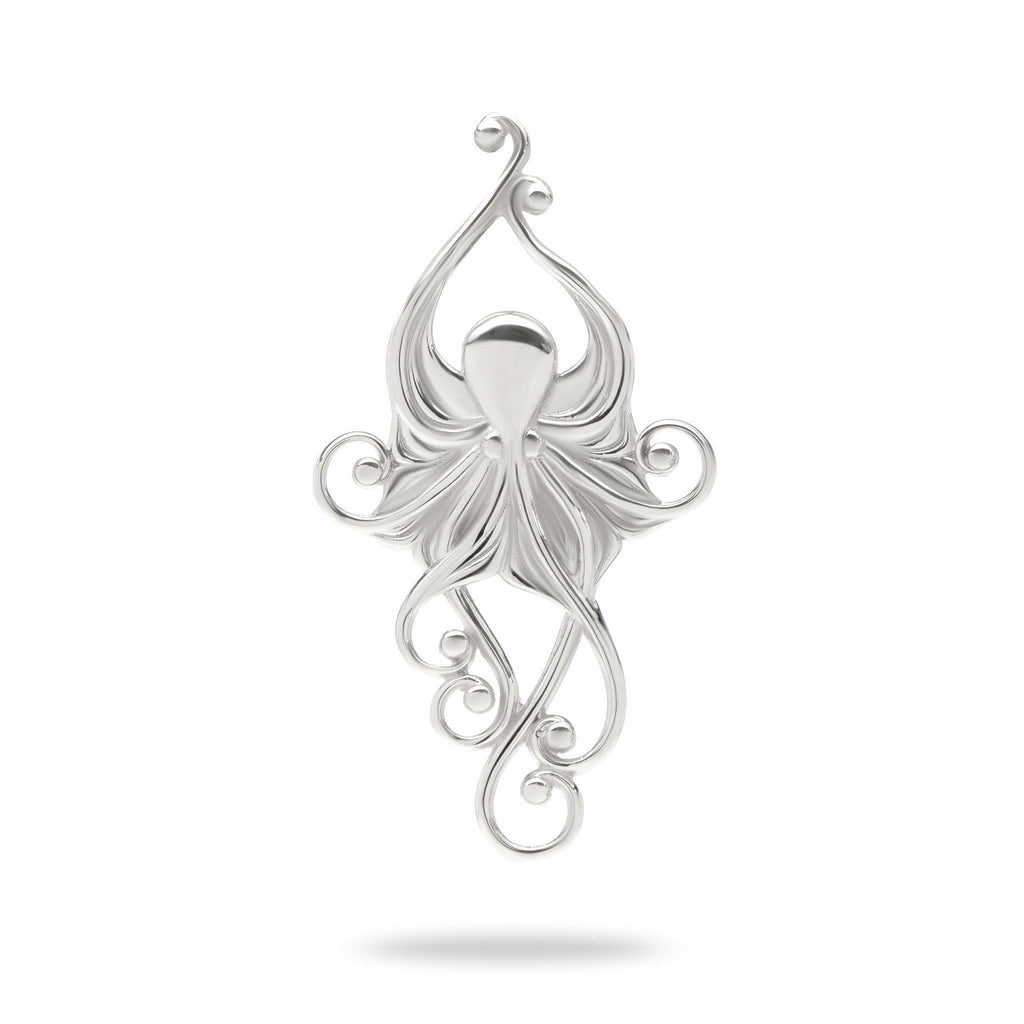 Living Heirloom Octopus Pendant in 14K White Gold -36mm - Maui Divers Jewelry