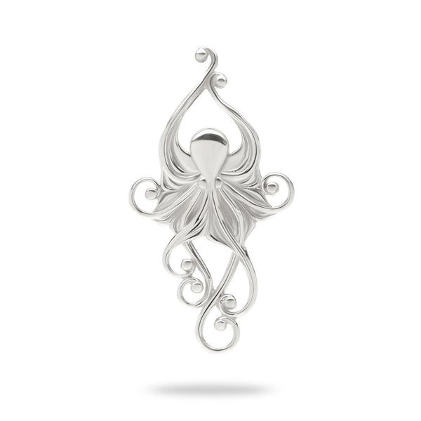 Living Heirloom Octopus Pendant in White Gold -36mm-Maui Divers Jewelry