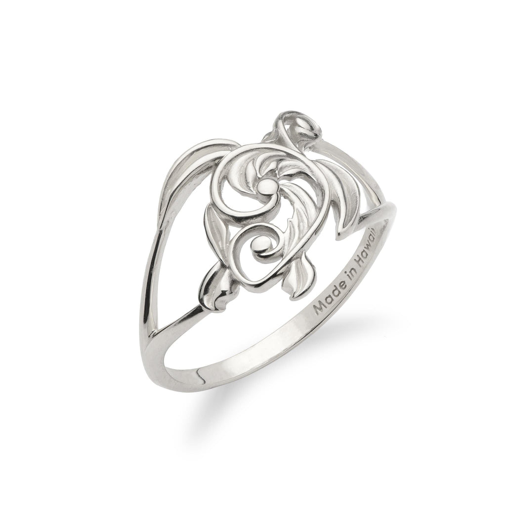 Living Heirloom Honu (Sea Turtle) Ring 14K White Gold - 16mm - Maui Divers Jewelry