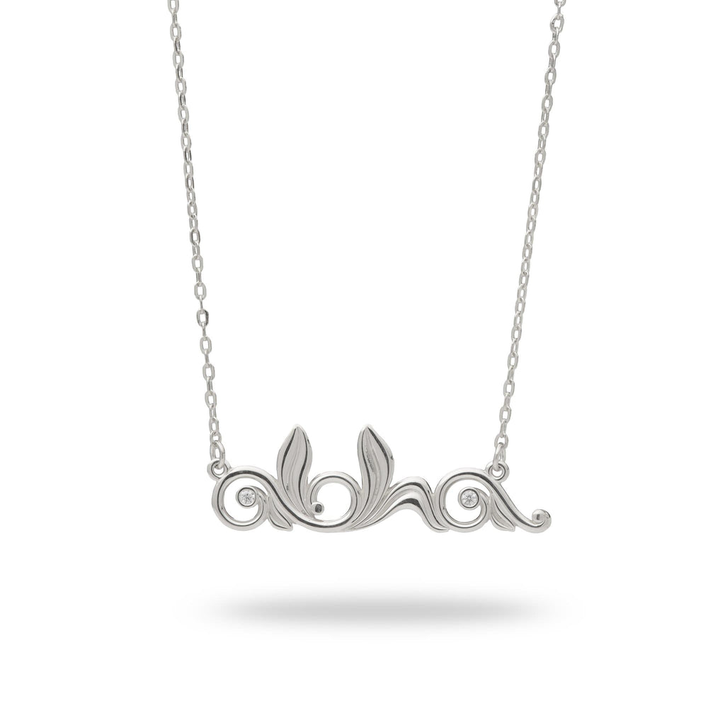 "Living Heirloom ""Aloha"" Necklace in 14K White Gold with Diamonds - 30mm - Maui Divers Jewelry"