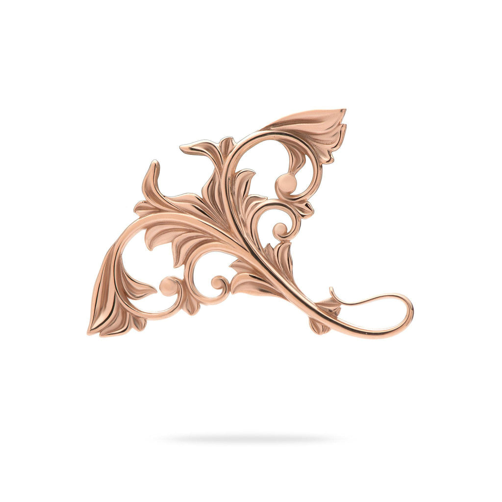 Living Heirloom Manta Ray Pendant in 14K Rose Gold - 35mm