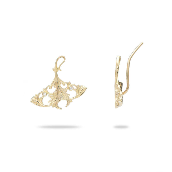 Living Heirloom Manta Ray Earrings in Gold with Diamonds - 20mm-Maui Divers Jewelry