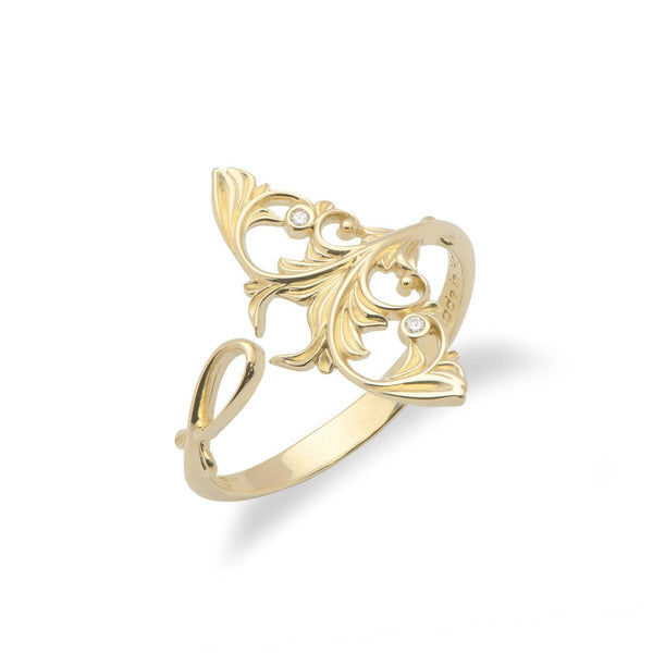 Living Heirloom Manta Ray Ring in Gold with Diamonds - 20mm-Maui Divers Jewelry
