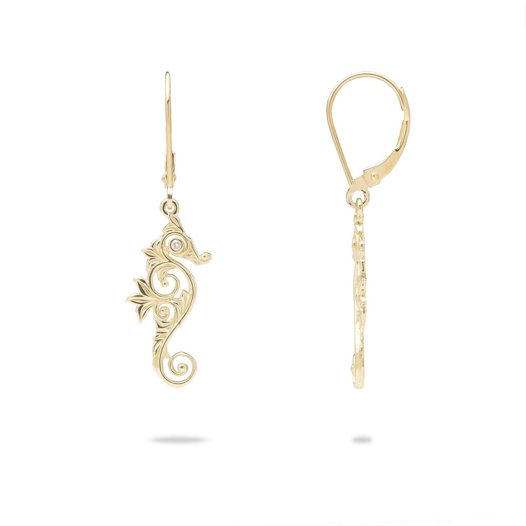 Living Heirloom Seahorse Earrings in Gold with Diamonds - 22mm-[SKU]