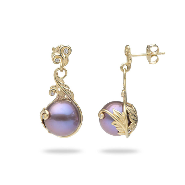 Living Heirloom Ultraviolet Freshwater Pearl Earrings with Diamonds in Gold-Maui Divers Jewelry