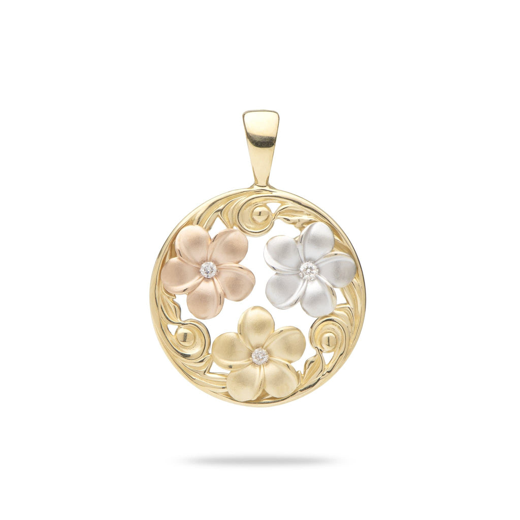 Hawaiian Heirloom Plumeria Round Pendant in 14K Yellow, Rose and White Gold