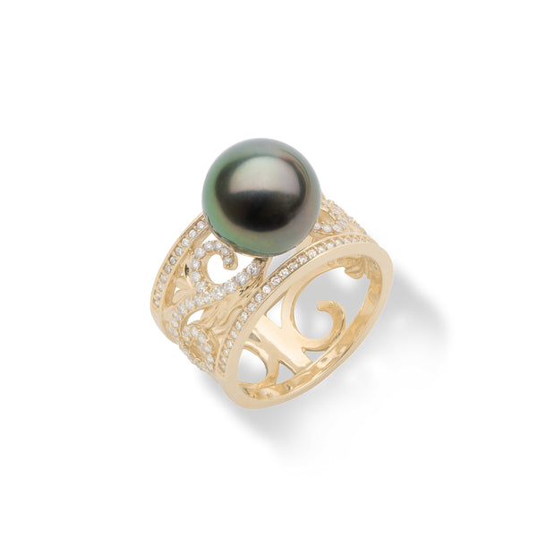 Hawaiian Heirloom Tahitian Black Pearl Ring with Diamonds in Gold 11-12mm-Maui Divers Jewelry