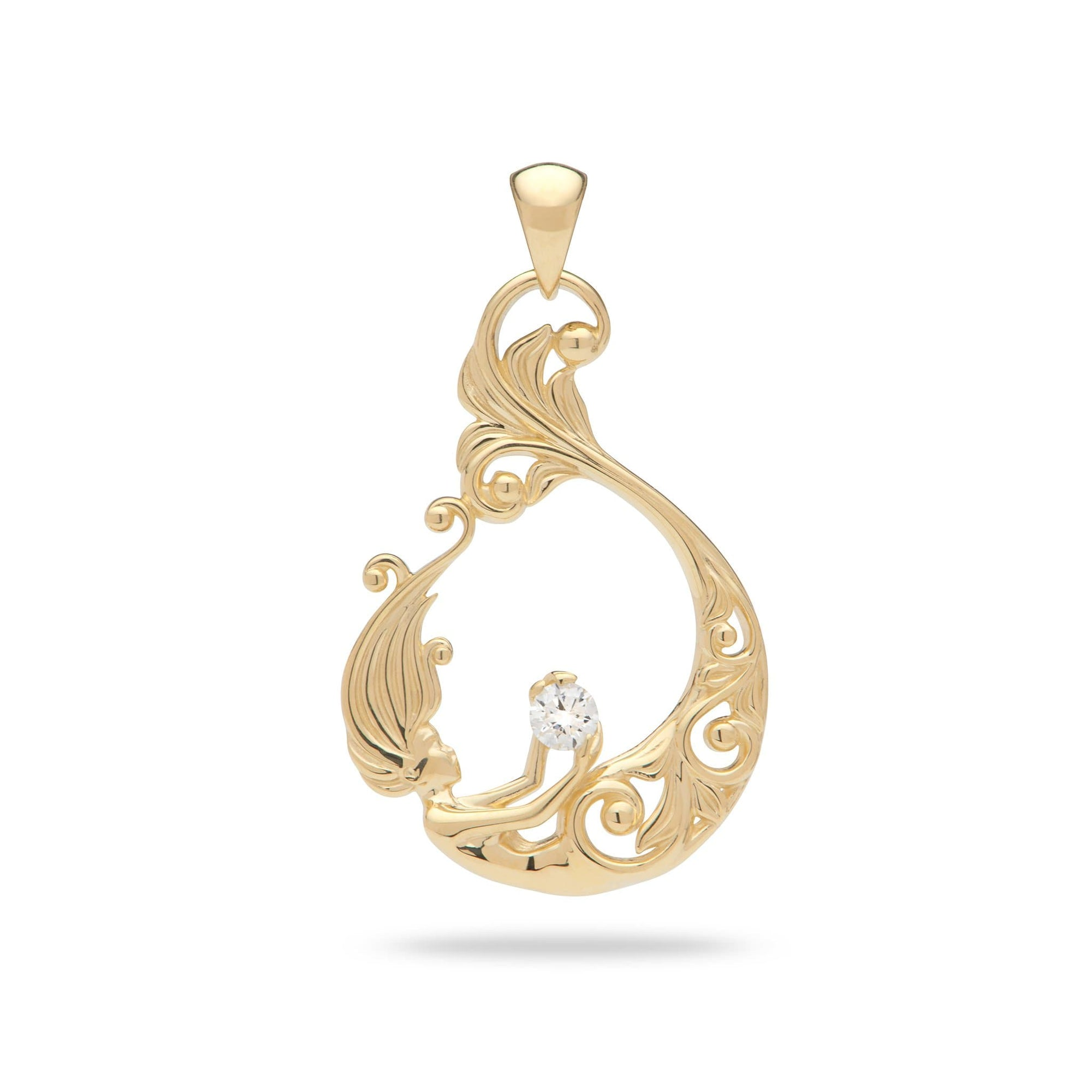 Living Heirloom Mermaid Pendant with Diamond in 14K Yellow Gold - Maui Divers Jewelry