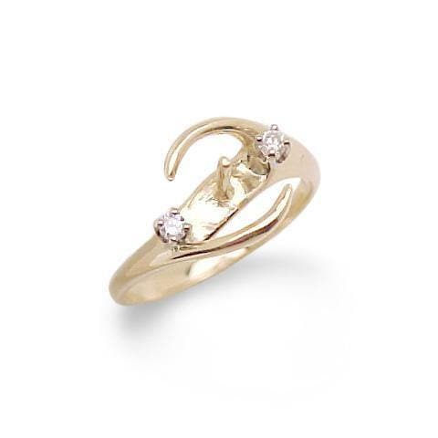 Ring Mounting with Diamonds in 14K Yellow Gold 076-00012