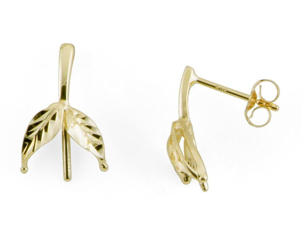 Maile Leaves Earring Mountings in 14K Yellow Gold-[SKU]