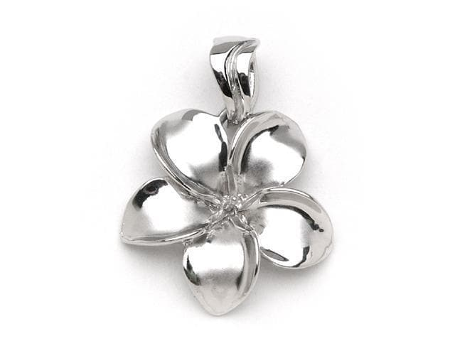 Plumeria Pendant Mounting in 14K White Gold