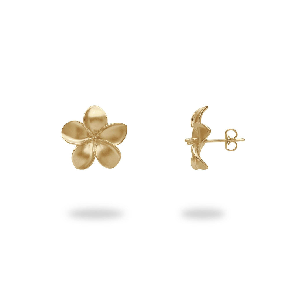 Pick-a-Pearl Plumeria Earrings in Gold - 13mm-[SKU]