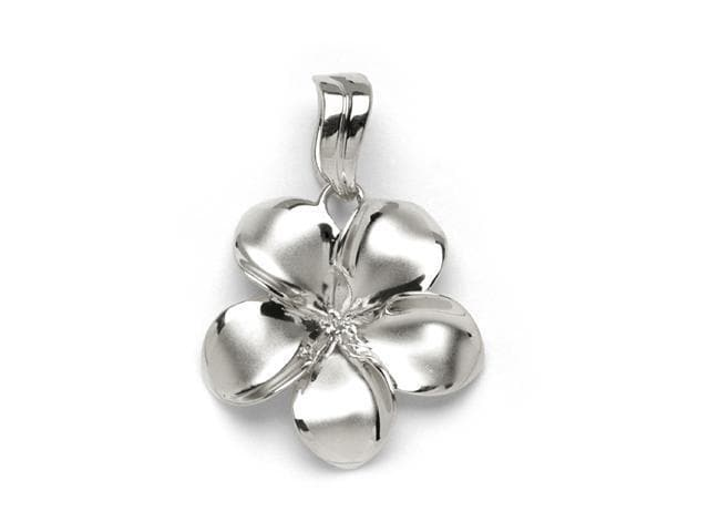 Plumeria Pendant Mounting in 14K White Gold - 23mm-[SKU]