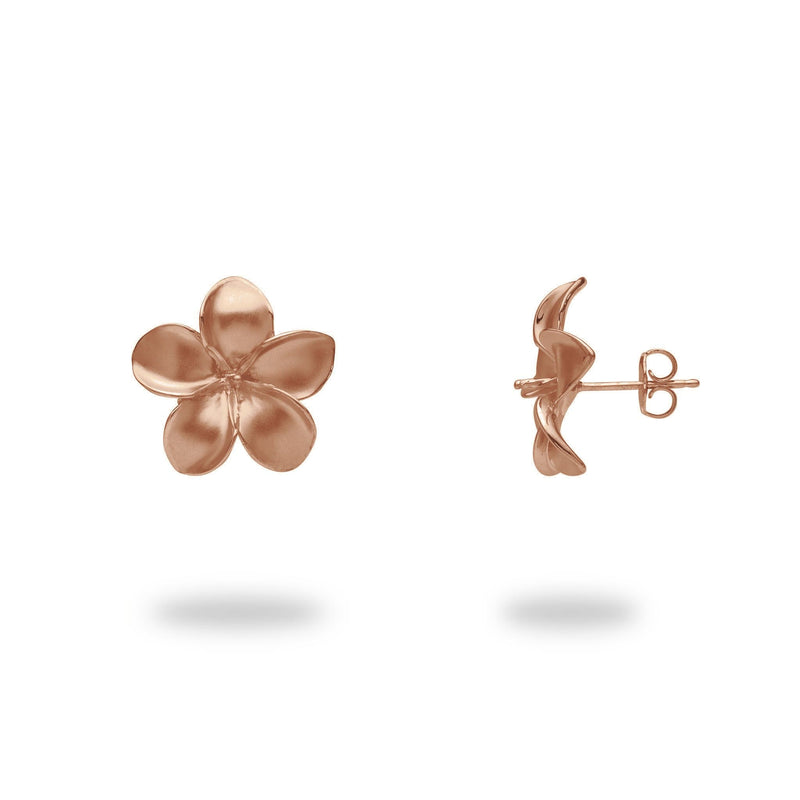 Pick-a-Pearl Plumeria Earrings in Rose Gold - 18mm