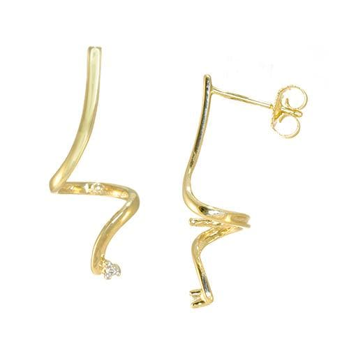 Swirl Earring Mountings in 14K Yellow Gold