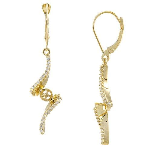 Waterfall Pave Earrings Mounting with Diamonds in 14K Yellow Gold