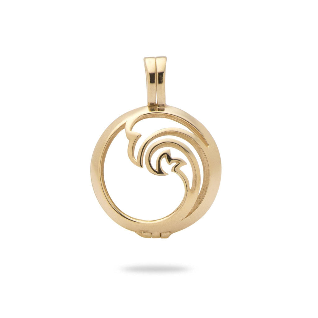 Nalu (Waves) Cage Pendant Mounting in 14K Yellow Gold - Maui Divers Jewelry