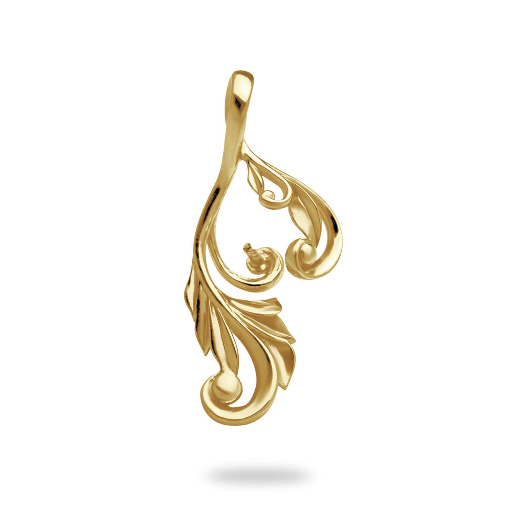 Maile Scroll Pendant Mounting in 14K Yellow Gold - Maui Divers Jewelry