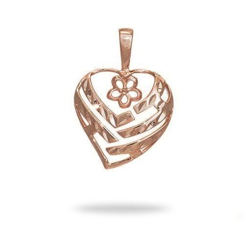 Pick-a-Pearl Aloha Heart Pendant in Rose Gold - 18mm-[SKU]