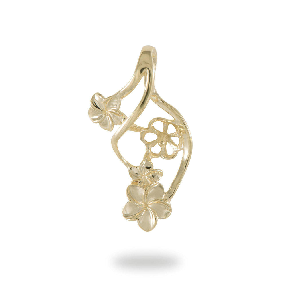 Triple Plumeria Waterfall Pendant Mounting in 14K Yellow Gold - Maui Divers Jewelry