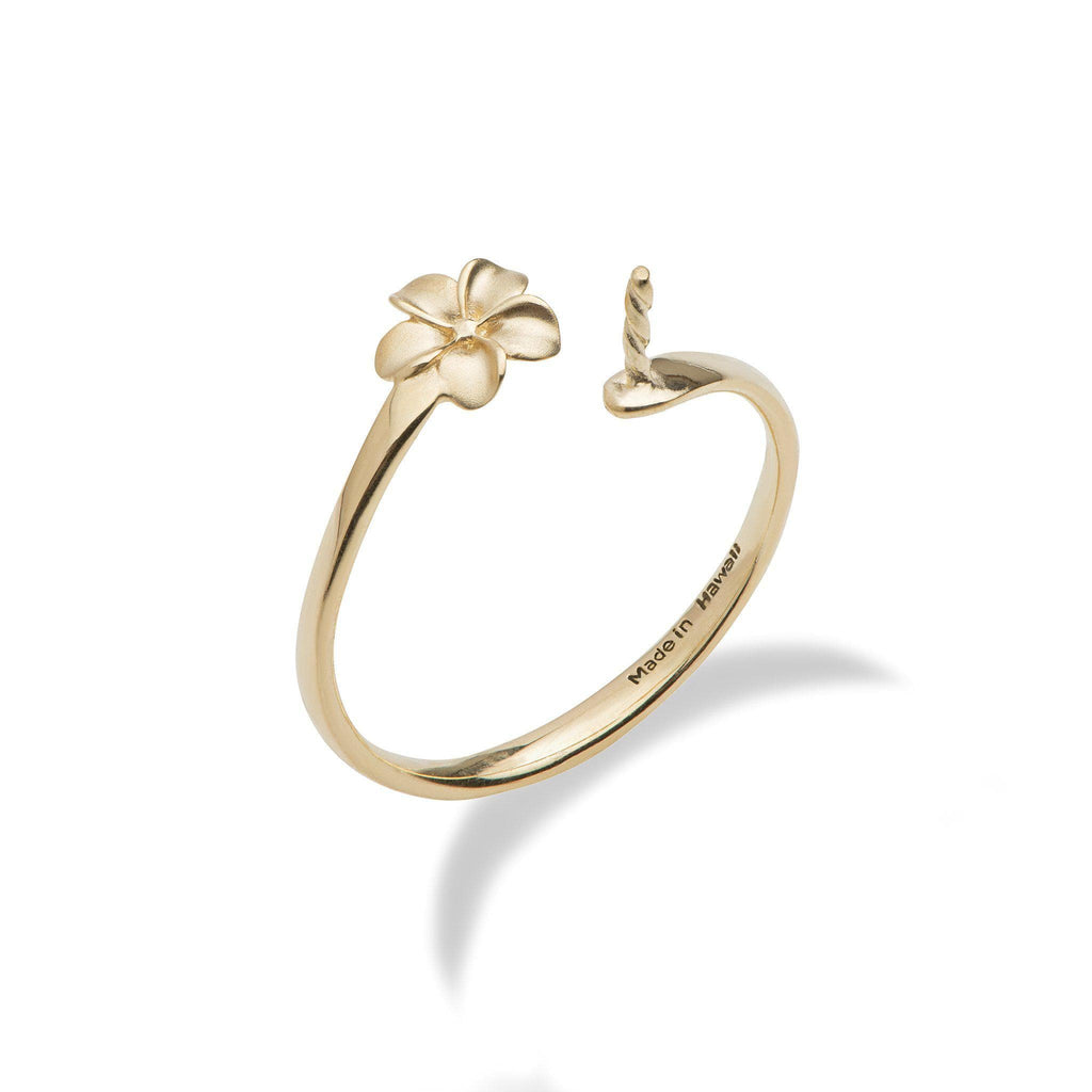 Pick-a-Pearl Plumeria Ring in Gold-[SKU]